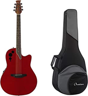 Ovation Applause Elite Acoustic Electric Guitar - Trans Cherry Flame + Ovation Zero Gravity Guitar Case