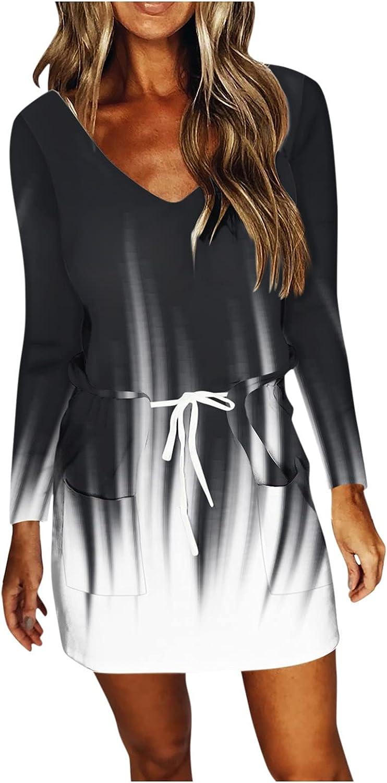 Aunimeifly Women's Mini Dress Casual Dreamcatcher Drawstring Spaghetti Strap Dresses Autumn Long Sleeves V Neck Dress