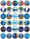 30 x Edible Cupcake Toppers Themed of Finding Dory Collection of Edible Cake Decorations | Uncut Edible on Wafer Sheet
