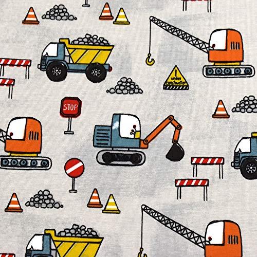 MAGAM-Stoffe Stop! Baustelle Kinder Stoff Oeko-Tex Meterware 50cm (Jersey)