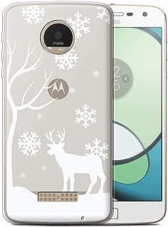 Phone Case for Motorola Moto Z Play/Droid Frozen Christmas Season Winter Reindeer Design Transparent Clear Ultra Soft Flexi Silicone Gel/TPU Bumper Cover