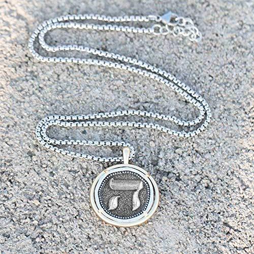 DUEJJH Co.,ltd Collar Chai para Hombre, Colgante Hebreo, símbolo judío Judaica, Primer Regalo conmemorativo Espiritual de Israel