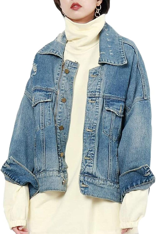 EtecredpowCA Womens Washed Zip Boyfriend Hole Drop Shoulder Sleeve Pocket Buttons Denim Jackets