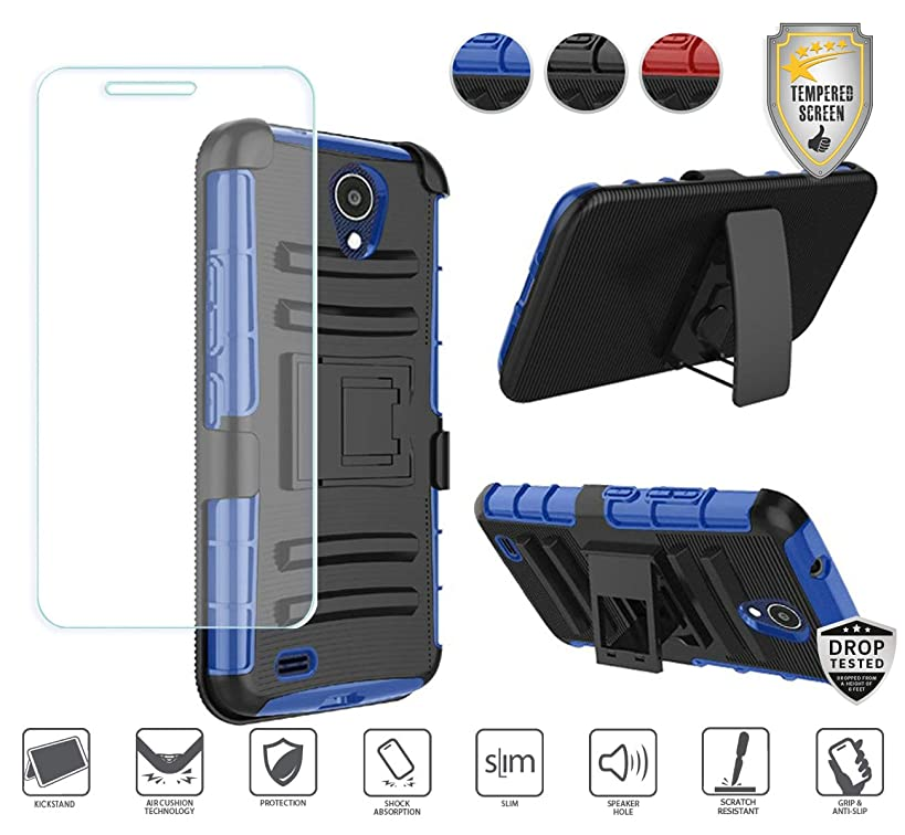 Compatible for At&t Axia QS5509a Case, Cricket Vision Case with Holster, with Tempered Glass Screen Protector, Premium Holster Hybrid Combo Case [Clip] with Stand [Shockproof] [Armor] (Black/Blue)