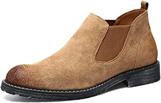 Sunny&Baby Chelsea Boot for Men Pull on Genuine Leather Elastic Sides Stitching Vegan Burnished Style Non-Slip (Fleece Inside Optional) Durable (Color : Yellow, Size : 5.5 UK)