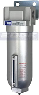 """HEAVY DUTY INDUSTRIAL RATED HIGH FLOW PARTICULATE FILTER, IN-LINE WATER TRAP FOR COMPRESSED AIR LINE SYSTEMS, 5 MICRON WITH METAL BOWL (1/2"""" NPT, 11oz)"""