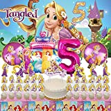 Tangled 5th Party Supplies | 5 | Rapunzel | Fifth | Five | Decorations | Birthday | Banner | Balloons | For Girl | Backdrop | Decor