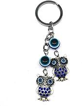 سلسلة المفاتيح الزرقاء الشر المعلقة للسيارة الرؤية الخلفية اكسسوارات المنزل البومة ديكور التعويذة قلادة لحظ جيد وحماية