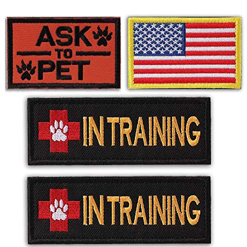 Arogheiz Service Dog in Training Patch for Vest Hook&Loop Embroidered Patches Removable Tag for Tactical Dog K9 Harness Backpack (Style B)
