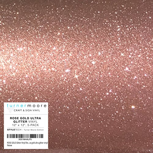 ROSE GOLD Glitter Vinyl Sheets 12 x 12 | 5-Pack Craft Vinyl Adhesive | Cricut Expression Explore, Silhouette Cameo, Signs, Stickers Decals by StyleTech - Turner Moore (rose gold ultra glitter vinyl)