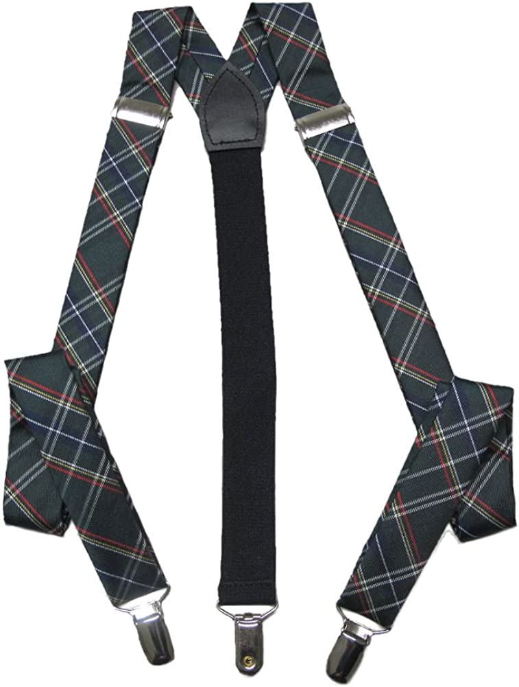 Knightsbridge Neckwear Mens Tartan Clip Braces - Green