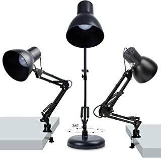 Swing Arm Desk Lamp - Dimmable LED Bulbs Included - with Base and Clamp, Eye-Care Metal Multi-Joint Architect Table Light for Office/Drafting/Reading/Work/Task/Bedside, USB Light with Dimmer Switch