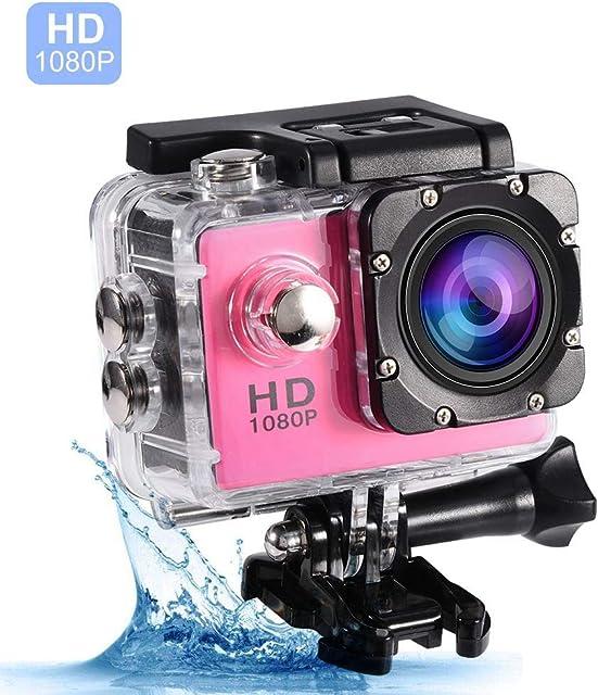 VBESTLIFE Action Cam 7 colores bajo el agua 30M Impermeable Ciclismo al aire libre Deportes Mini DV Acción Cámara Videocámara Soporte 32GB Tarjeta TF (Rosa) Multi idioma