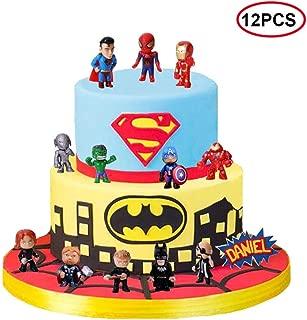 12PCS Avengers and Superheros cake topper,Cupcake Topper, Superheros mini action figures,Children Shower Birthday Party Supplies