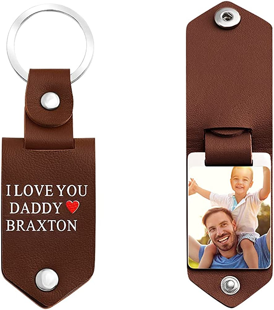 Leather Keychain for Men Custom Personalized Free Engraving Text Keychain