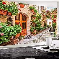 Djskhf 3D壁紙ヨーロッパスタイル都市ストリート花パス写真壁壁画カフェレストランリビングルーム背景壁の装飾 360X250Cm