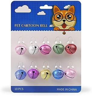 Legendog 10PCS Pet Bell Glitter Heart Decorative DIY Craft Bell Training Bell Collar Bell for Cats Dogs