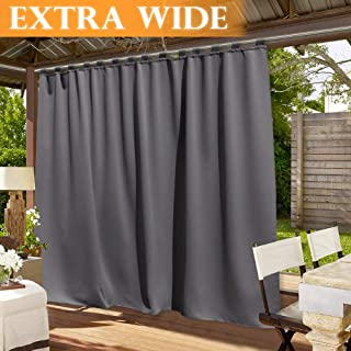 RYB HOME Patio Curtain Outdoor - Extra Wide Drape Sunlight Blackout Shade Waterproof Windproof for Outdoor Indoor Porch Pergola Privacy Curtain, Wide 100 by Long 84 inch, Grey