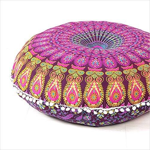 Gran Ronda de 32'funda de almohada, decorativo Mandala almohada Sham, bohemio indio otomana POUFS, Pom Pom Fundas de almohada, al aire libre cojín,