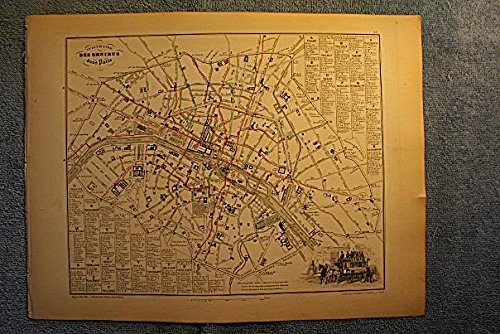 Itineraire des Omnibus dans Paris (Bus Routes) - single original antique map from the 1850's Migeon atlas