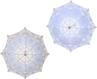 Toyvian 2 Pcs 12 Inch Lace Parasol Umbrella Wedding Umbrella for Bride Wedding Gift Photo Props Kids Gift White & Beige