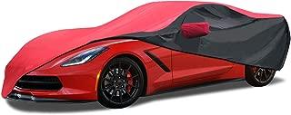 KAKIT 2014-2019 C7 Stingray Waterproof Car Cover, Custom Fit C7 Cover No Faded UV Resistant for Chevy Corvette Stingray Z51 Z06 Outdoor/Indoor (Red & Black Combo)