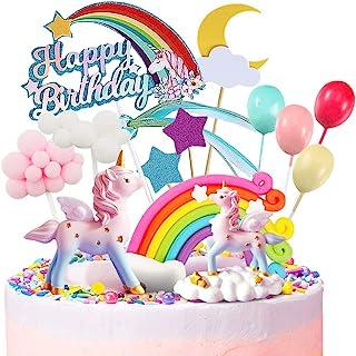 کیک موی تک شاخ MOVINPE ، 2 مجسمه جادویی تک شاخ ، 1 رنگین کمان ، 1 بنر تولدت مبارک ، 2 ابر ، 4 بادکنک ، 12 ستاره ، 1 ماه ، تزیین کیک برای جشن تولد زنان دختر بچه