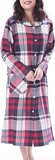 NISHIKI[ニシキ] ネグリジェ パジャマ ルームワンピース 長袖 綿100% 肌に優しい 前開き ロング丈 レディース 春 秋 ルームウェア ナイトウェア 部屋着 ソフトビエラ かわいい