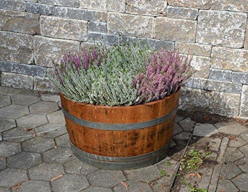 Holzfass als Pflanzkübel, Weinfass halbiert geölt (D70 cm) (mit Halteschlaufen und Ablaufbohrungen)