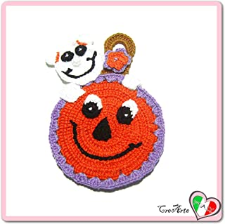 Orange crochet pumpkin potholder with ghost for Halloween - Size: 4.5 inch x 6.7 inch H - Handmade - ITALY