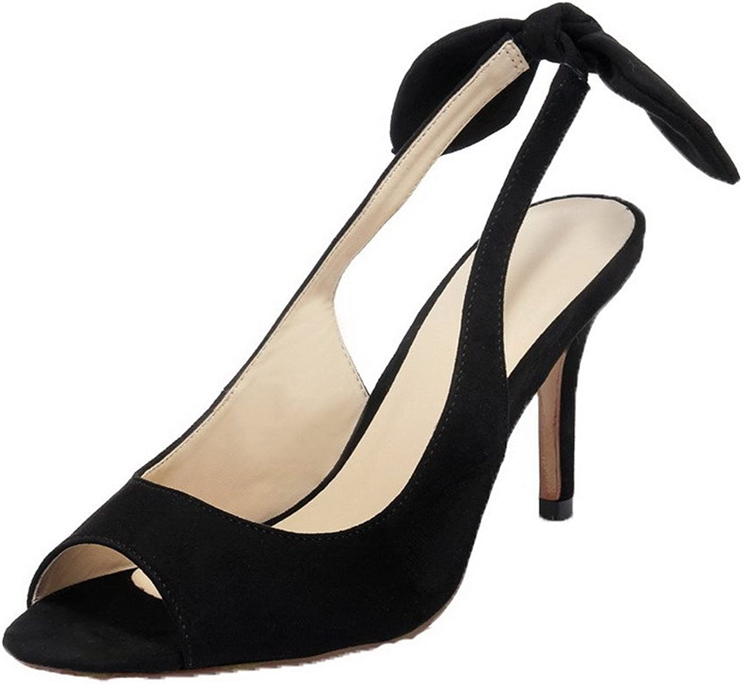 AllhqFashion Women's Frosted Buckle Open Toe High Heels Solid Sandals, Black, 39