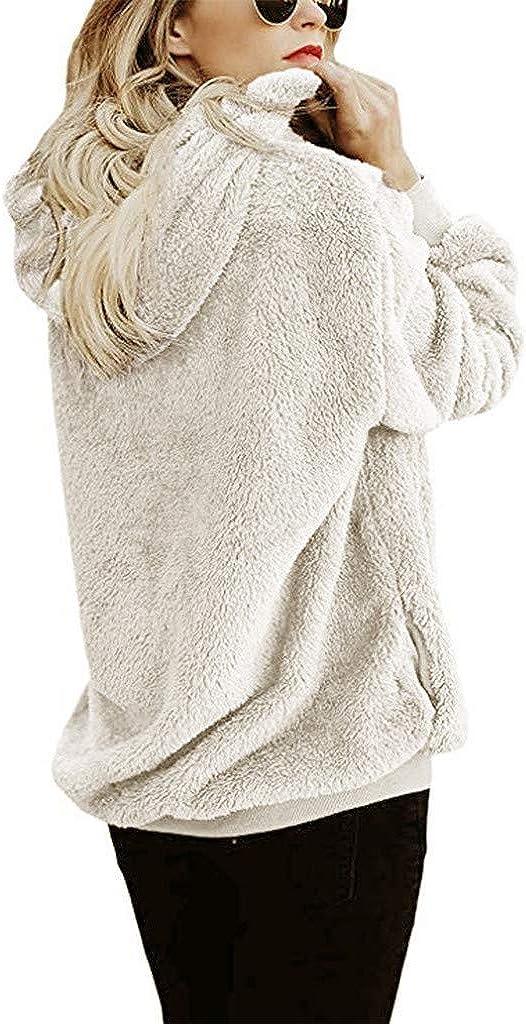 UOCUFY Sweatshirts for Women Hoodie Pullover Fuzzy Hooded Drawstring Zipper Fleece Hoodies Oversized Sherpa Sweater Fur Coat
