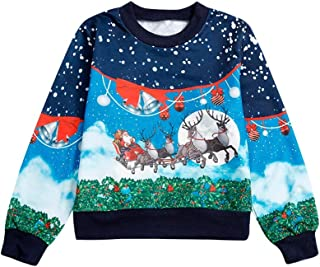 Toddler Baby Boys Cotton Girls Cotton Xmas Christmas Cartoon Fawn Sweatshirts Blouse Tops Clothes Outfits (4T-9T)