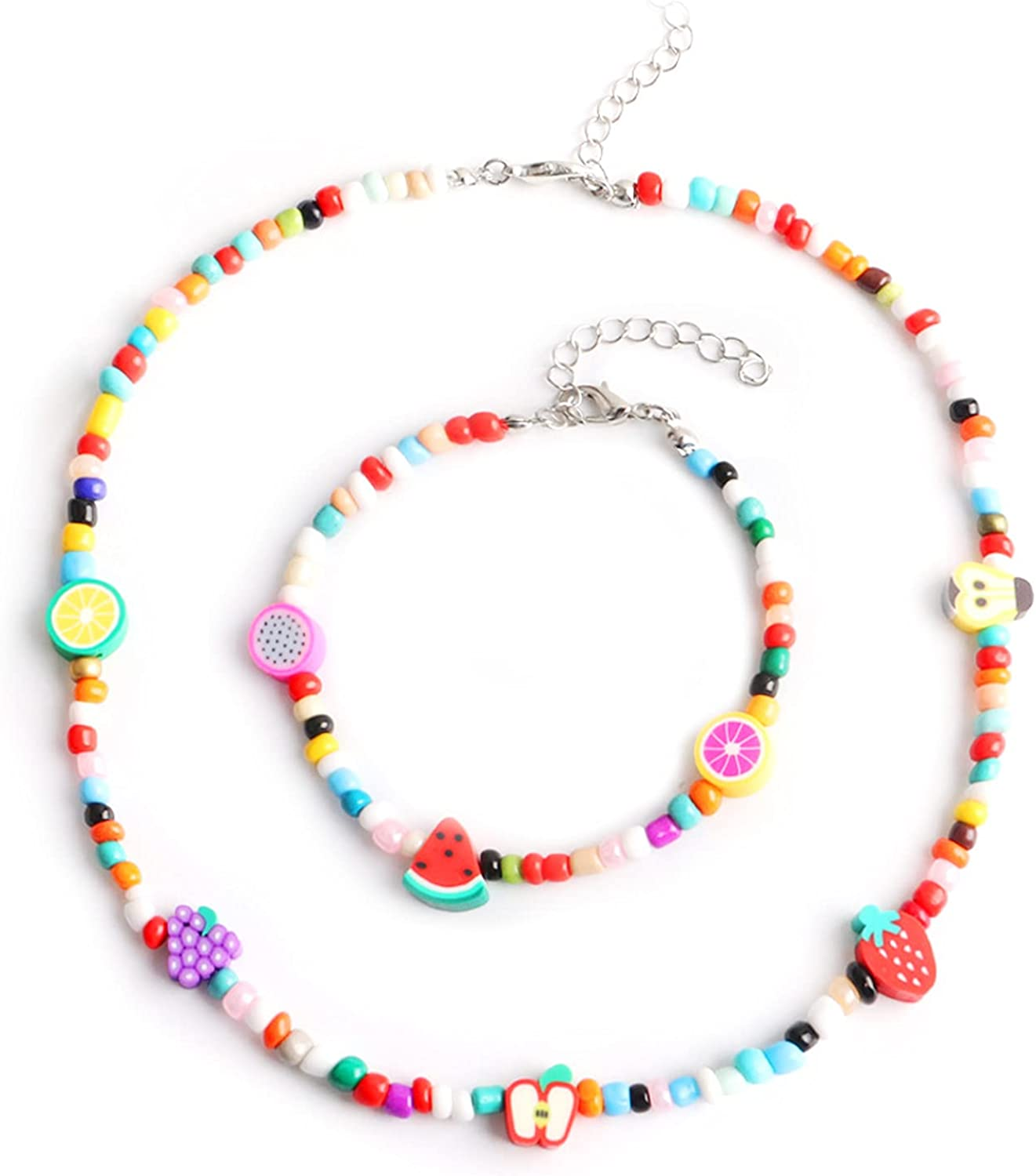 Lovely Colorful Beaded Strand Necklace Bracelet Set, Boho Beads Sunflower Smiley Fruit Charms Braided Collar Necklace Anklet, Women Girls Summer Beachy Vacation Barefoot Bikini Jewelry