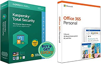 Kaspersky Total Security - 1 User, 1 Year (CD)&Microsoft Office 365 Personal for 1 user (Windows/Mac), 12 month/1 Year (Ac...