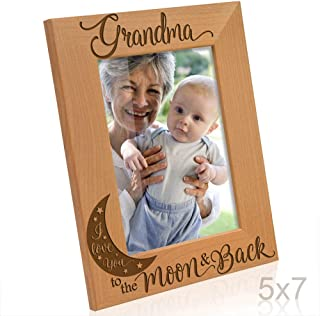 KATE POSH - Grandma I Love You to The Moon and Back Engraved Natural Wood Picture Frame, for Grandma, Birthday Gifts for Grandmother, Best Grandma Ever (5x7-Vertical)