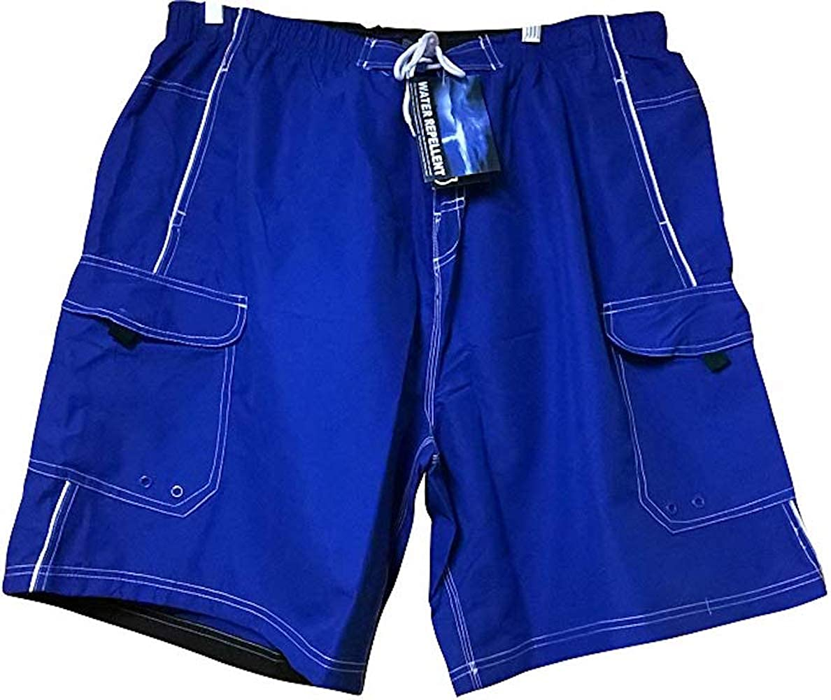 Big and Tall Quick Dry Solid Cargo Swim Trunks to 8X in Royal and Black with Piping