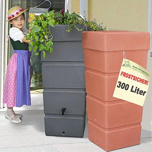 AMUR Regentonne Regenfass Ecktonne Regenspeicher Regenwasserbehälter FROSTSICHER - Moderne Eck-Regenwassertonne mit stabilem Deckel als Pflanzschale (Terra-kotta)