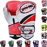 Gants de boxe Farabi - Parfait pour l'entraînement, le Muay Thai, le kickboxing, le MMA et tous types d'arts martiaux - Pour hommes, Red, 283 g