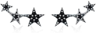 Star Climber Stud Earrings Womens 925 Sterling Silver Cuff Earrings Hypoallergenic Wrap Pin Earrings