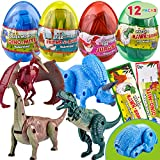 JOYIN 12 Pack Valentines Day Card with Transforming Dinosaur Toys in Egg for Valentine Party Favor, Classroom Exchange Prize, Valentine's Greeting Cards, Transforming Dinosaurs, Hatching Dinosaur Eggs
