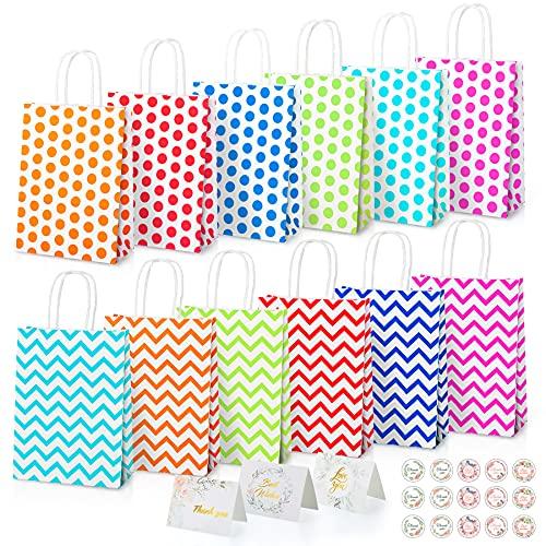 JQGO Bolsas de papel para fiestas, 12 bolsas de regalo con asas,...