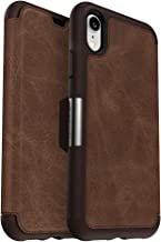 OtterBox Strada Series Case for iPhone XR - Retail Packaging - Espresso (Dark Brown/Worn Brown Leather)