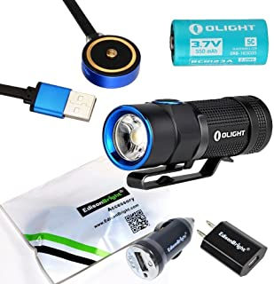 Olight S1R Turbo S USB rechargeable 900 Lumen CREE LED Flashlight, Rechargeable battery with EdisonBright brand USb AC & Car chargers