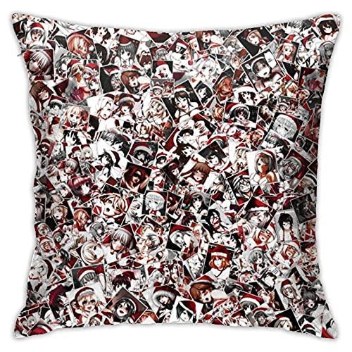 N\A Navidad Hentai decoración del hogar Funda de Almohada Cuadrada Funda de Almohada Fundas de cojín para sofá Dormitorio Coche
