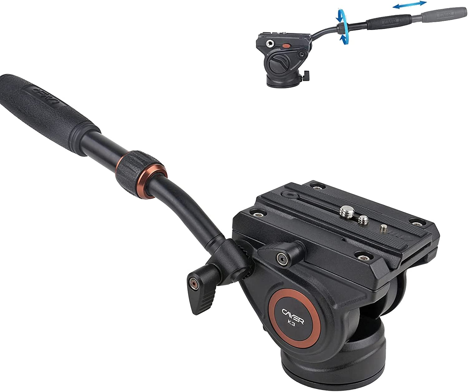Cayer K3 Video Camera Washington Mall Fluid Drag Pan Head 1 and with 4 Topics on TV inche 3 8
