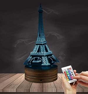 CTO Regalo de Navidad Ilusión 3D Luz de Noche Led Lámpara de la Torre Eiffel 16 Colores Control Remoto Inserto USB Luz Led Regalo de Cumpleaños Y Decoración de Fiesta,UNA,Lámpara