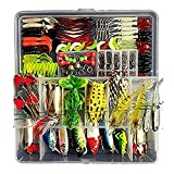 Freshwater Fishing Lure Kits,Topconcept 180Pcs Fishing Tackle Lots,Minnow Popper Pencil Crank RattleFor Trout Bass Salmon