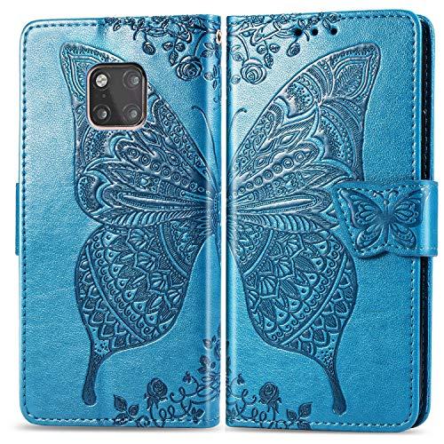Jeewi Hülle für Huawei [Mate 20 Pro] Hülle Handyhülle [Standfunktion] [Kartenfach] [Magnetverschluss] Tasche Etui Schutzhülle lederhülle klapphülle für Huawei Mate 20Pro - JESD020579 Blau