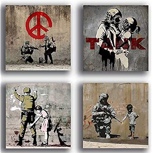 Quadri Moderni stile BANKSY murales street art pace guerra soldato 4 pezzi 30x30 cm Stampa su Tela Canvas Arredamento Arte Astratto XXL Arredo soggiorno camera da letto cucina ufficio bar
